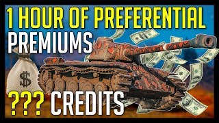 ► EXPERIMENT - 1 Hour of Credit Grind with Preferential Premium Tanks - World of Tanks Gameplay