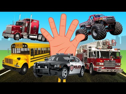Finger Family Vehicles Collection Learning Planes Trucks Police Cars Taxi Names and Sound Rhymes