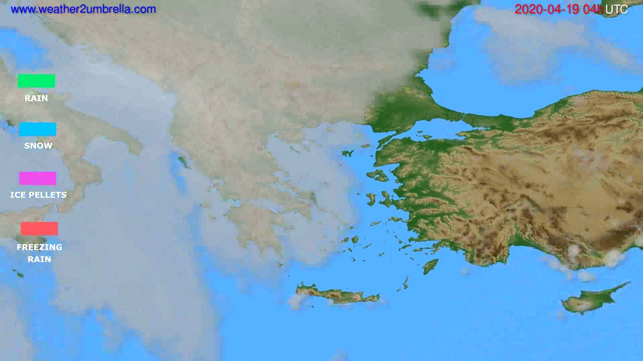 Precipitation forecast Greece // modelrun: 12h UTC 2020-04-18