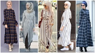 Top 48 Very Stylish Arabic Style Lined & Check Print Abaya Dress Collection/Hijab Fashion 2020/Dubai