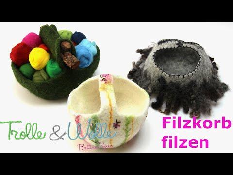 Filzanleitung: gefilzter Korb - Filzkorb -  wetfelting - www.trolle-und-wolle