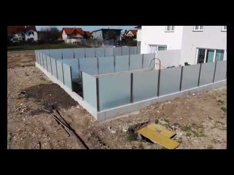Glas Sichtschutzwand / Glas Zaun / AS Edelstahlbau
