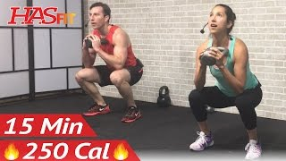 15 Min Kettlebell Workout - Kettlebell Workouts for Fat Loss & Strength Training Exercises Men Women by HASfit
