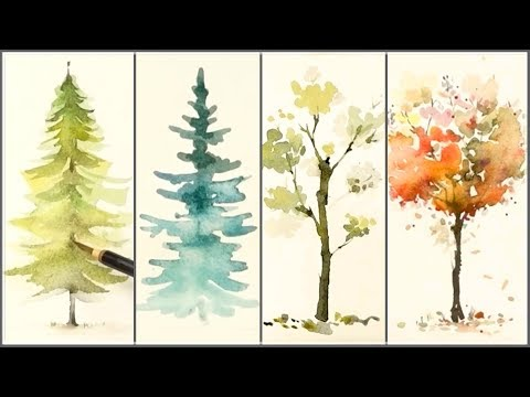 How to Paint 4 Different Trees for Beginners   Easy Watercolor Tutorials