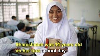 An inspiring video Shamshidah was 14 yrs old on her first day
