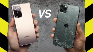 Samsung Galaxy Note20 Ultra vs Apple iPhone 11 Pro Max Drop Test