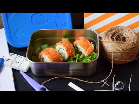CRISPY CHICKEN ROLLS WITH SPINACH FETA & RICE perfect for lunchboxes!