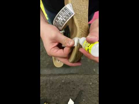 How to use Shoe-Fix Glue on a pair of wedge sandals