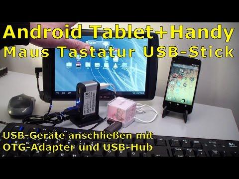 USB-Stick Tastatur und Maus an Android-Tablet und Handy mit OTG Adapter