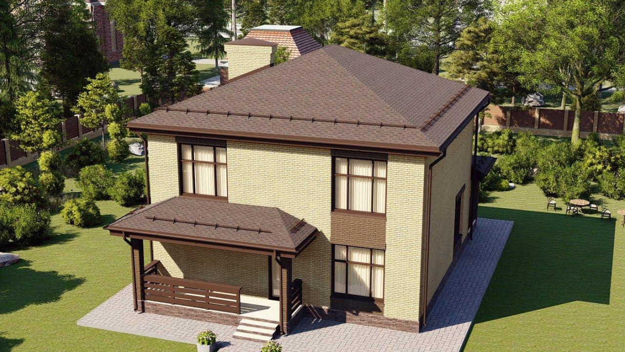 Двухэтажный дом из газобетона 10 на 10 площадью 153 м2