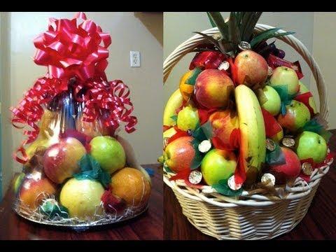 Como hacer canastas de fruta para regalo o para padrinos - 2 diferentes - La receta de la abuelita