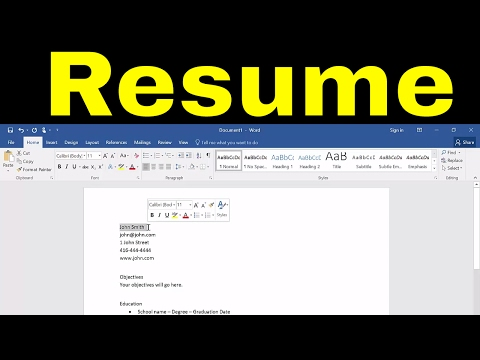 How To Create A Resume In Microsoft Word-Tutorial