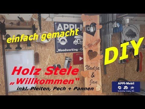DIY - Holz Stele / Deko Brett mit Namen /Willkommensschild