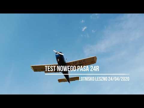 Wideo1: Lotnisko Leszno - pierwsze starty i lądowania na nowym pasie 24R-06L