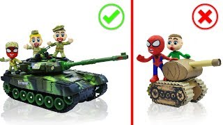 SUPERHERO BABY BUILDS MILITARY TANK 💖 Stop Motion Cartoons Animation