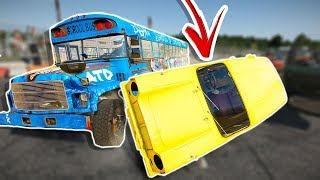 SCHOOL BUS VS 23 TINY VANS WITH PINBALL MODE! - Wreckfest Gameplay - Demolition Derbies