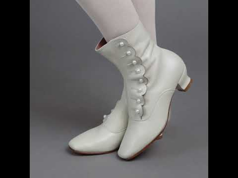 PRE-ORDER Renoir Victorian Button Boots (Ivory)(1850-1880)