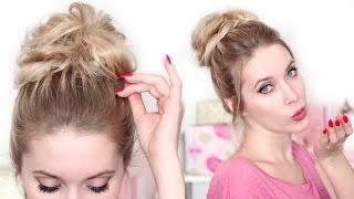 Стильный небрежный пучок за 1-2 минуты на средние/длинные волосы