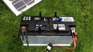 110Ah Car Battery connected to 80W Solar Panel