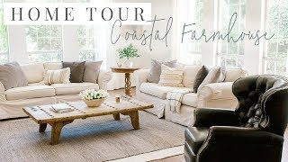 Coastal Farmhouse Home Tour - Kitchen And Living Room