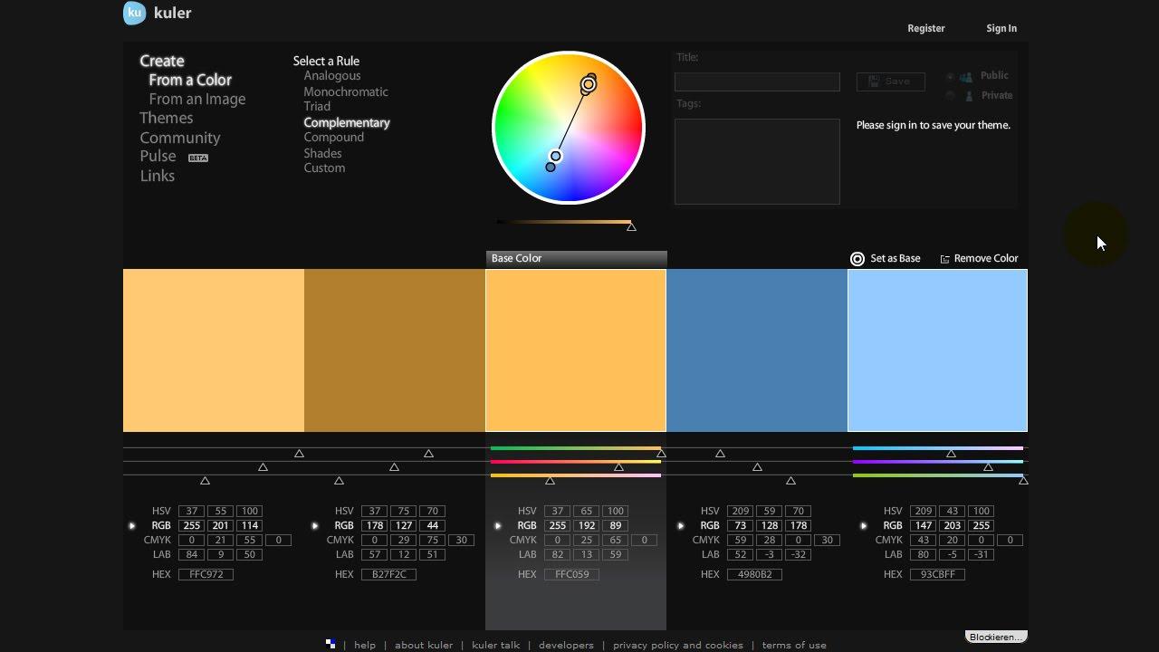 Adobe Kuler (Adobe Color CC) und Photoshop-Erweiterung