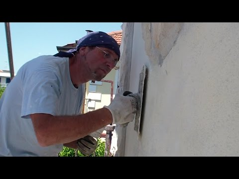 Come RASARE un muro ESTERNO  di una casa-How to apply the stucco on an  EXTERNAL wall