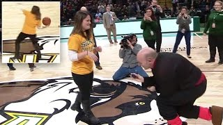 Woman Gets Surprise Proposal After Making Half-Court Shot At Basketball Game