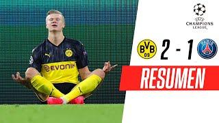 orussia Dortmund venció 2-1 al PSG Brujas por la ida de octavos de final de la UEFA Champions League. Erling Haaland marcó los dos goles del equipo alemán mientras que Neymar anotó para los franceses. Mira lo mejor del partido en este resumen de FOX Sports.   #ChampionsxFOX  -SUSCRÍBETE a nuestro canal   http://bit.ly/FOXSportsSur  VISITA nuestro sitio web  http://www.foxsportsla.com  SÍGUENOS en nuestras redes   - FACEBOOK: https://www.facebook.com/foxsportsla/ - TWITTER: https://twitter.com/FOXSportsArg - INSTAGRAM: https://www.instagram.com/foxsportsarg/