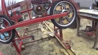 Ленточная пилорама на колёсах от мопеда