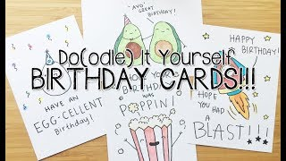DIY Birthday Doodle PUNS cards~! | Doodle with Me