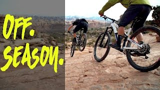 Moab bike mechanics enjoying the off season the only way they know how...killing it on the trails!