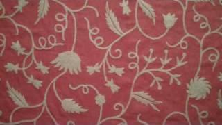 Floral Vine Coral Linen Crewel Fabric
