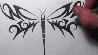 Drawing A Tribal Dragonfly Tattoo Design