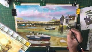 Watercolour lesson Polperro Cornwall Part 2