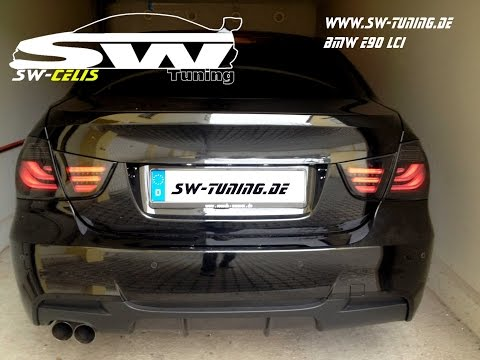 Einbau Video LED Rückleuchten BMW 3er E90 LCI black smoke SW-Tuning