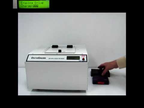 Video of the Verity DataGauss Max Hard Drive and Backup Tape Pulse Discharge Degausser Shredder