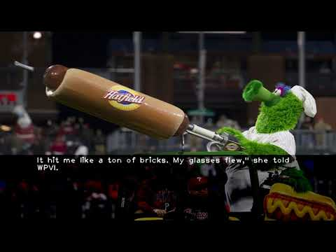 Phillies fan gets hit in face  injured by Phanatic's flying weiner