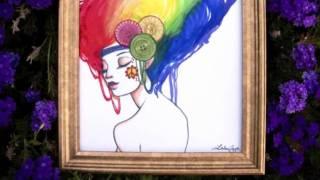 Art Auction Wednesday! Original Rainbow Hippie Girl!