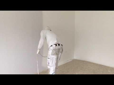 Ein Zimmer in 6:35min streichen. So gehts! Airless Farbe spritzen. Rauhfaser streichen.