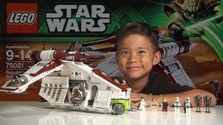 REPUBLIC GUNSHIP 2013 - LEGO Star Wars Set 75021 Time-lapse, Stop Motion, Unboxing & Review