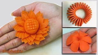3 Amazing Carrot Garnishes For Food Designs & Decorations | Champey, Sunflower & Spiral Carving
