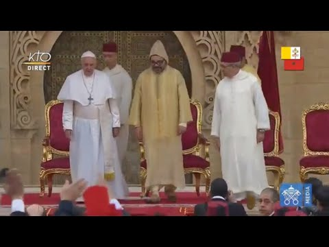 Cérémonie de bienvenue du pape François au Maroc
