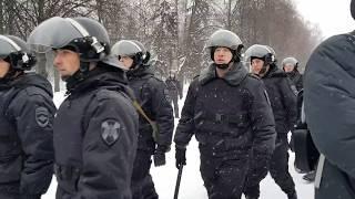 Начало задержания на митинге в Чебоксарах 28.01.2018