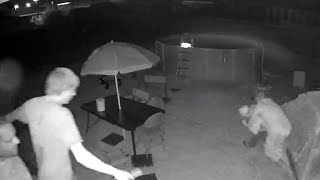 Family tackles alleged sexual predator in their backyard