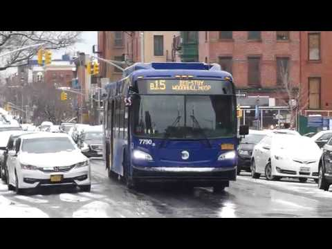 MTA NYCT Bus: 2019 New Flyer XD40 Xcelsior B15 Bus #7790 at DeKalb Ave-Lewis Ave (Weekend-Snow)