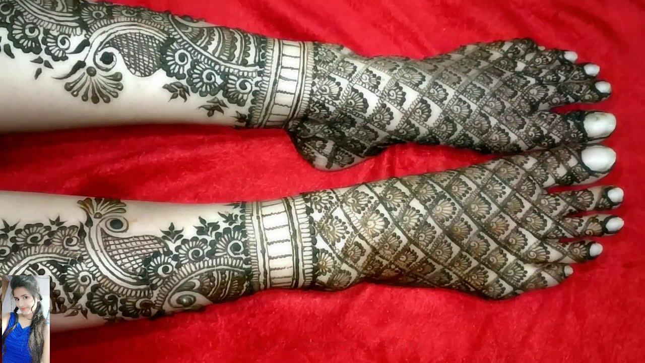 bridal mehndi design for full foot by sakshi art of mehndi