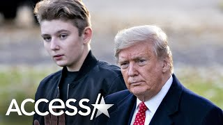 Barron Trump Missing From President Trump's Departure Ceremony