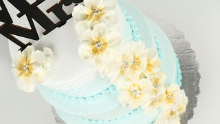 Floral Wedding Cake With Whipped Cream | Beach Style Wedding Cake Tutorial