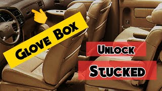 How to unlock a stuck glove compartment for 1998-2003 Toyota Sienna and Camry.