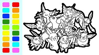 Eevee Evolution Pokemon Coloring Book Pages Speed Colouring For Kids